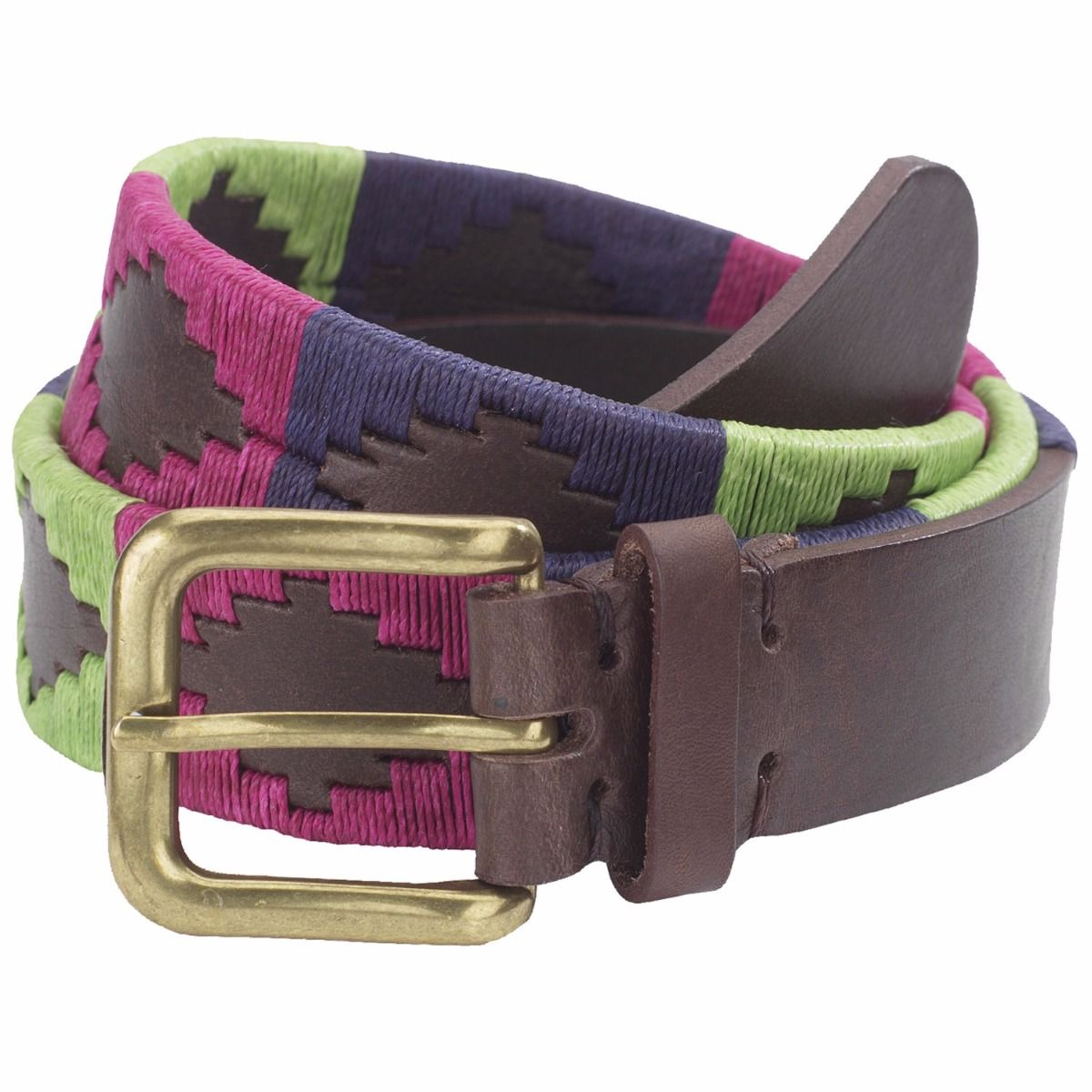Our Ladies Polo Belt in Berry/Navy/Green