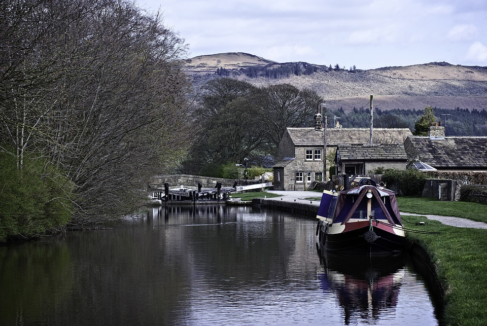 Narrowboat on a canal in Britain