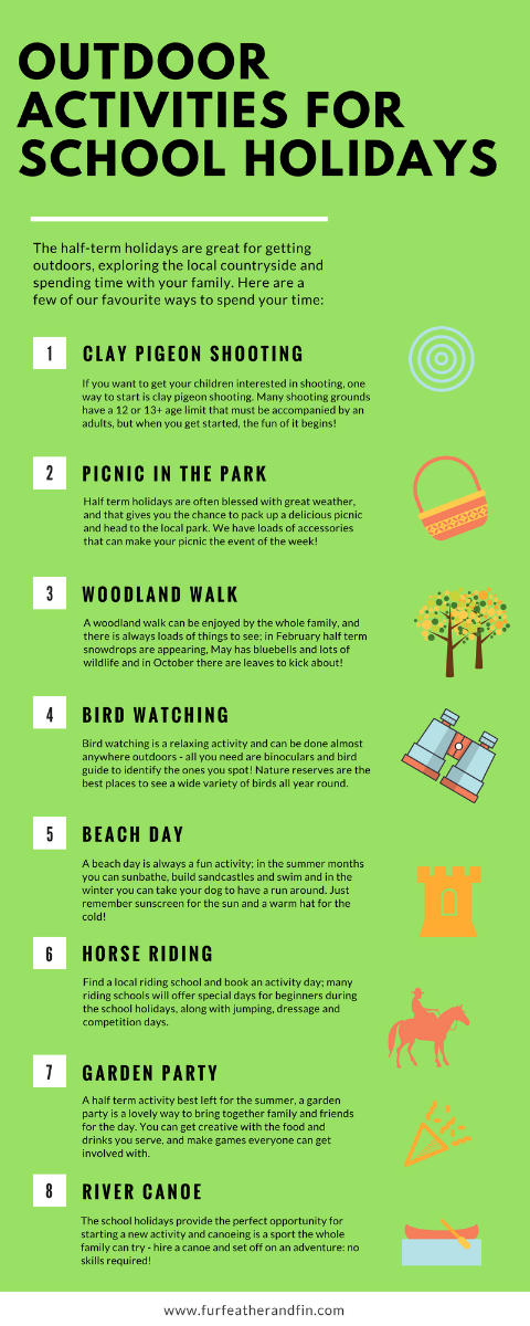 Fur Feather & Fin outdoor activities infographic