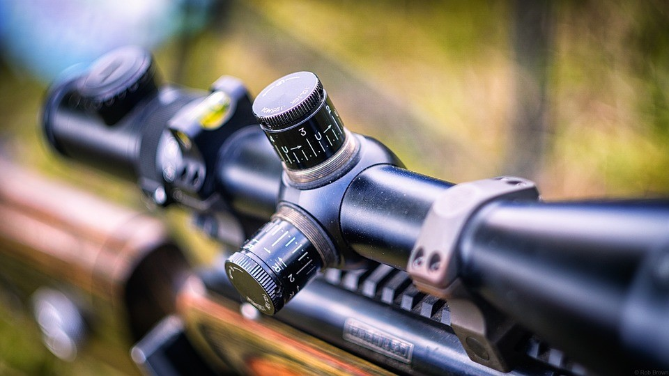 Close up of rifle scope