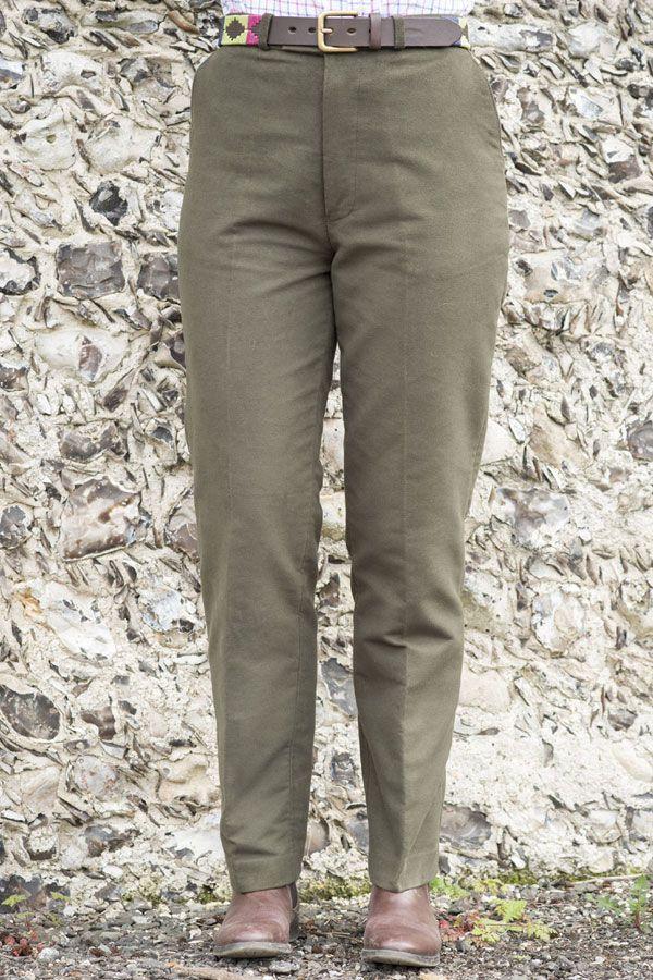 Woman's moleskin olive trousers
