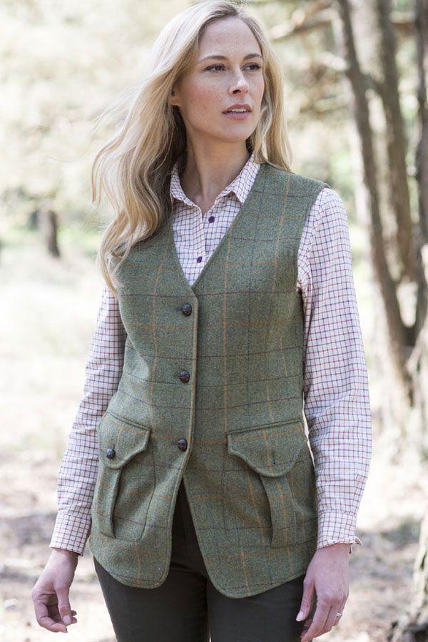 Woman in tweed waistcoat