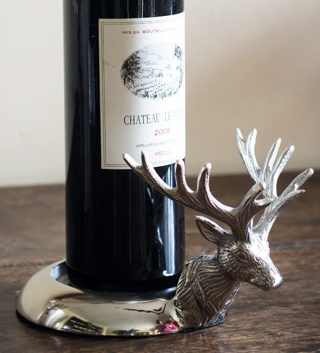 silver stag wine bottle holder